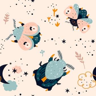 Padrão sem emenda em cor pastel com bug bonito dos desenhos animados, mariposa, borboleta