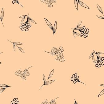 Padrão sem emenda em estilo floral moderno sobre um fundo claro. ilustração vetorial