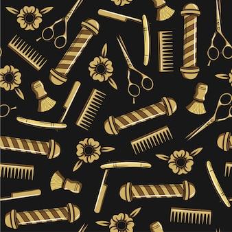Padrão sem emenda em estilo hippie. ferramentas para cortes de cabelo masculinos. impressão para barbearia masculina. um conjunto de acessórios para cabeleireiro masculino em fundo preto.