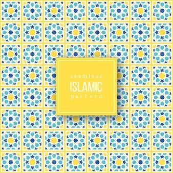 Padrão sem emenda em estilo tradicional islâmico. cores azuis, amarelas e brancas. ilustração.