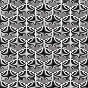 Padrão sem emenda em mosaico geométrico abstrato com repetição de objetos hexagonais em ilustração de estilo monocromático.