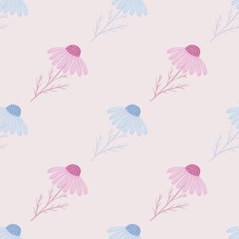 Padrão sem emenda em tons pastel claros com estampa de flores de camomila azul e rosa desenhada à mão