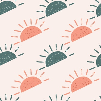 Padrão sem emenda em tons pastel com formas abstratas de sol étnico azul e rosa