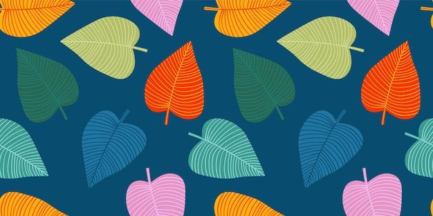 Padrão sem emenda engraçado brilhante com folhas abstratas