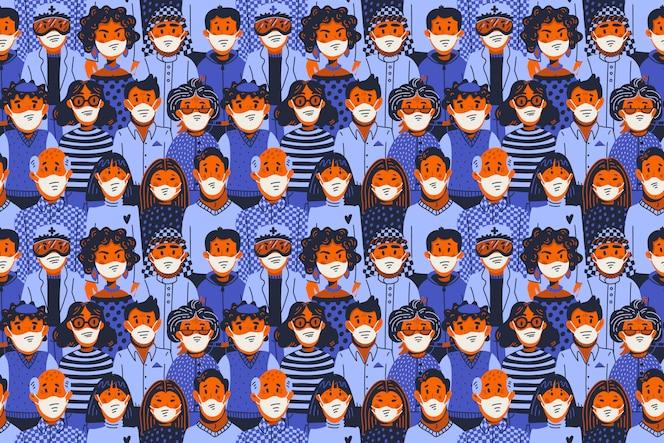 Padrão sem emenda epidêmico. Novo coronavírus covid-19, pessoas com máscaras médicas. Propagação do vírus, pandemia.