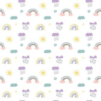 Padrão sem emenda escandinavo de crianças nuvens, chuva, sol e arco-íris