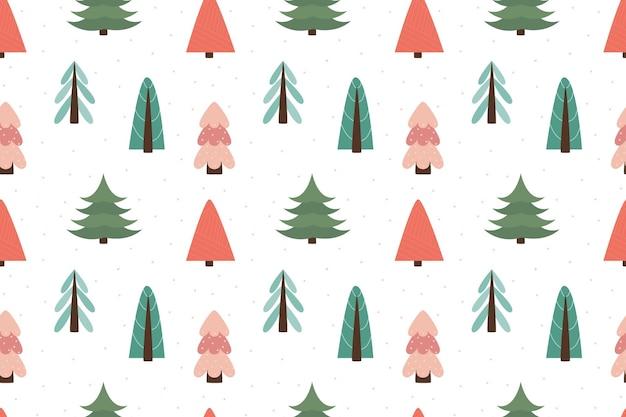 Padrão sem emenda escandinavo de floresta de inverno. ano novo, natal, feriados. árvore estilizada para impressão, papel, design, tecido, decoração, papel de embrulho, plano de fundo. design versátil. ilustração vetorial, doodle