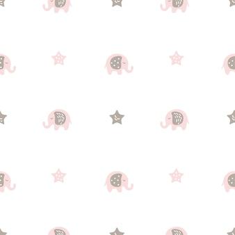 Padrão sem emenda escandinavo de vetor de elefantes cor de rosa bonitinho. elefante bebê e estrelas nórdicas
