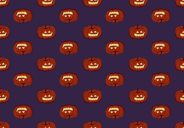 Padrão sem emenda escuro com cara de abóboras e sorriso vegetal decoração de festa de halloween com um ...