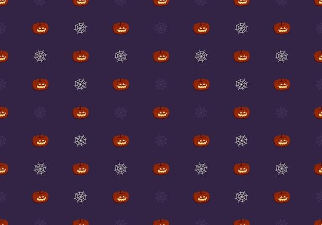 Padrão sem emenda escuro com rosto de abóboras e sorriso e teia de aranha decoração de festa de halloween vegetab ...