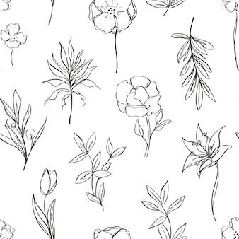 Padrão sem emenda estético contemporâneo para impressão com linha abstrata de flores e folhas em preto e branco