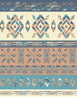 Padrão sem emenda étnica tribal com elementos geométricos.