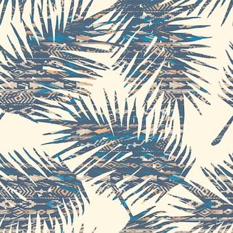 Padrão sem emenda étnica tribal com folhas de palmeira.