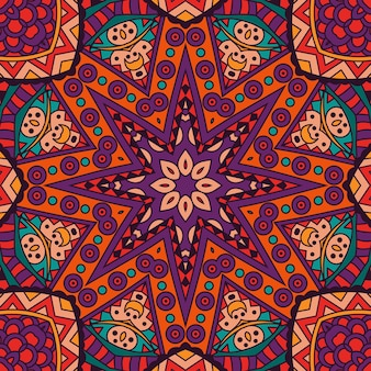 Padrão sem emenda étnico de mandala tribal abstrato impressão ornamental