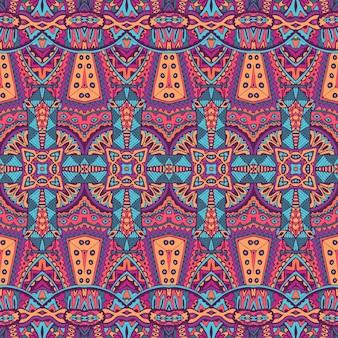 Padrão sem emenda étnico geométrico tribal psicodélico colorido tecido estampado
