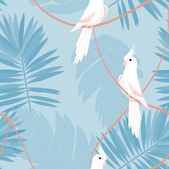 Padrão sem emenda exótico com um papagaio e folhas tropicais.