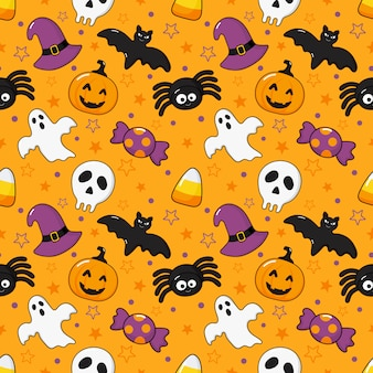 Padrão sem emenda feliz halloween ícones isolados na laranja