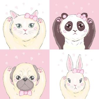 Padrão sem emenda feminino engraçado com gatinho fofo, cachorro, coelho, rostos.