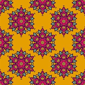 Padrão sem emenda festivo abstrato festivo de vetor colorido de damasco