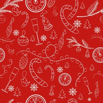 Padrão sem emenda festivo para o natal e ano novo com fundo vermelho. ilustração vetorial.
