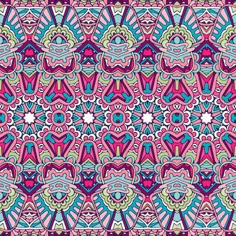 Padrão sem emenda flor colorido étnico tribal geométrico estampa psicodélica