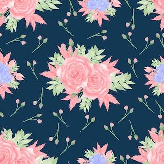 Padrão sem emenda floral abstrato com rosas e suculentas azul