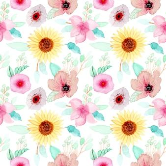 Padrão sem emenda floral aquarela colorida
