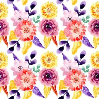 Padrão sem emenda floral aquarela roxo amarelo
