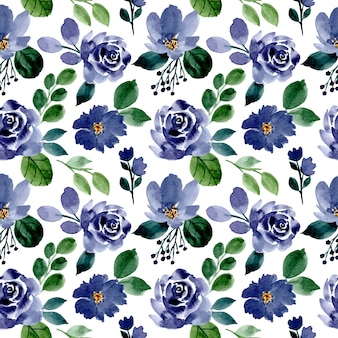 Padrão sem emenda floral aquarela verde e azul