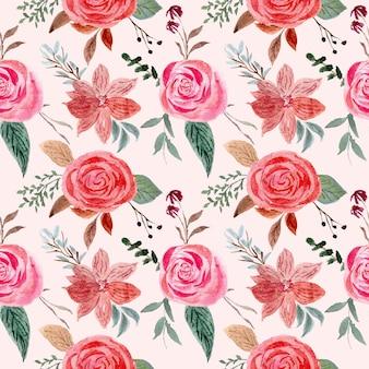 Padrão sem emenda floral com composições de flores vintage rosas