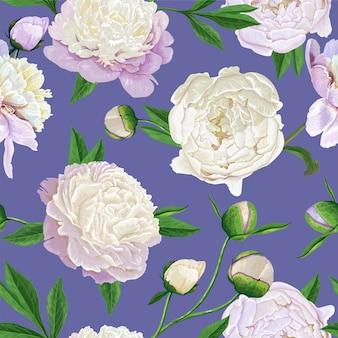 Padrão sem emenda floral com flores brancas de peônias