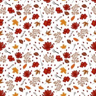 Padrão sem emenda floral com flores de outono