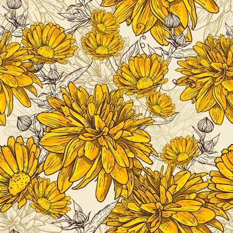 Padrão sem emenda floral com flores desabrochando