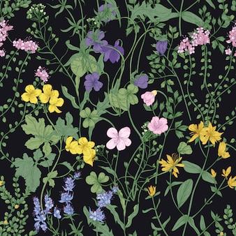 Padrão sem emenda floral com flores silvestres desabrochando românticas e plantas herbáceas de prado