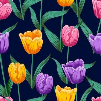 Padrão sem emenda floral com folhas