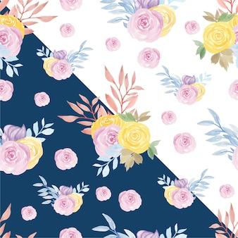 Padrão sem emenda floral com rosas roxas e amarelas