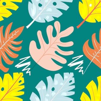 Padrão sem emenda floral contemporâneo de colagem. frutas e plantas exóticas modernas da selva. design criativo deixa padrão