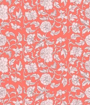Padrão sem emenda floral coral ornamentais