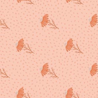Padrão sem emenda floral de estilo minimalista com impressão de silhuetas de margarida
