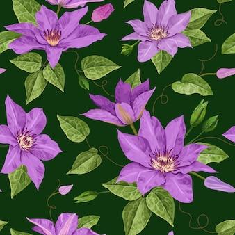 Padrão sem emenda floral de flores em aquarela