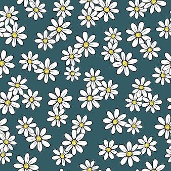 Padrão sem emenda floral de margaridas bonitinho. vetor desenhado à mão desabrochando camomila, arte em linha de contorno