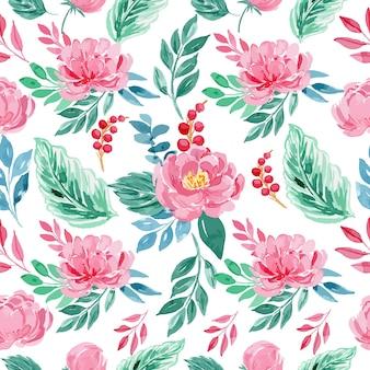 Padrão sem emenda floral de peônia rosa aquarela