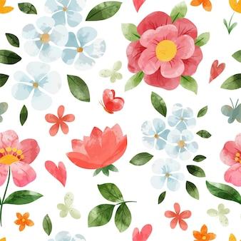 Padrão sem emenda floral de primavera. mão-extraídas ilustração em aquarela.