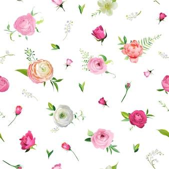 Padrão sem emenda floral de verão com rosas e vale de lírio. fundo botânico com flores para tecido, papel de parede, papel de embrulho e decoração. ilustração vetorial