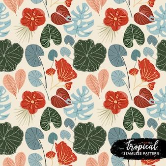 Padrão sem emenda floral de verão tropical vintage