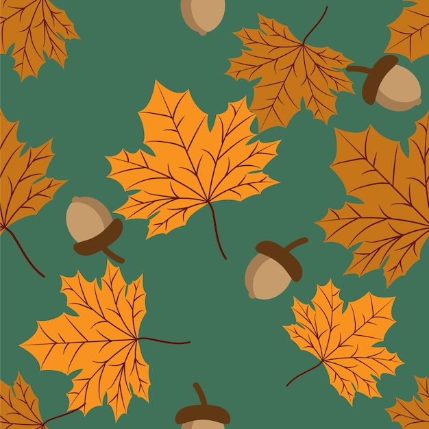 Padrão sem emenda floral de vetor com folhas de outono e bolota.