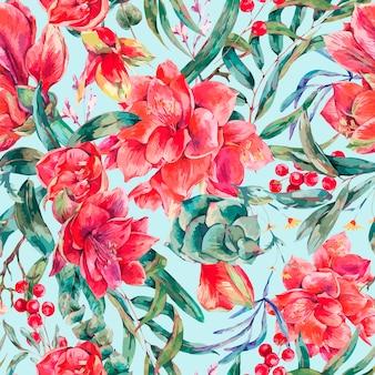 Padrão sem emenda floral de vetor de flores vermelhas amaryllis