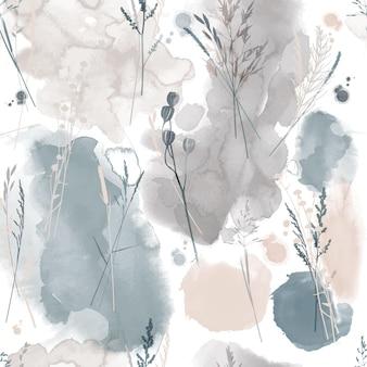 Padrão sem emenda floral de vetor em aquarela