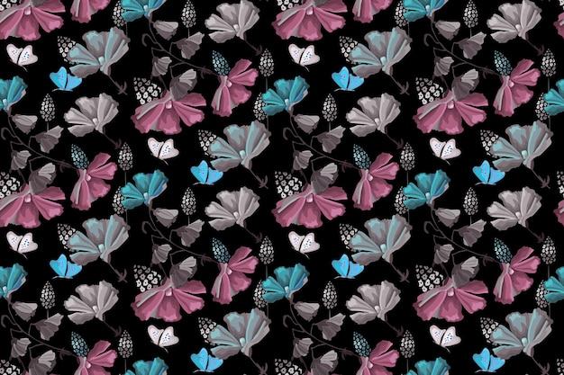 Padrão sem emenda floral delicado. flores e borboletas