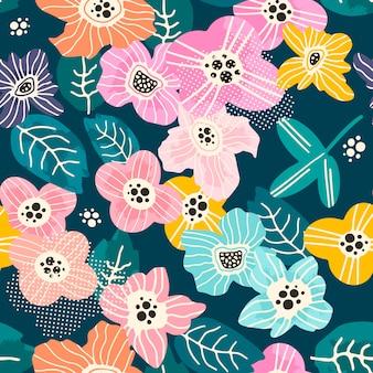 Padrão sem emenda floral desenhados à mão